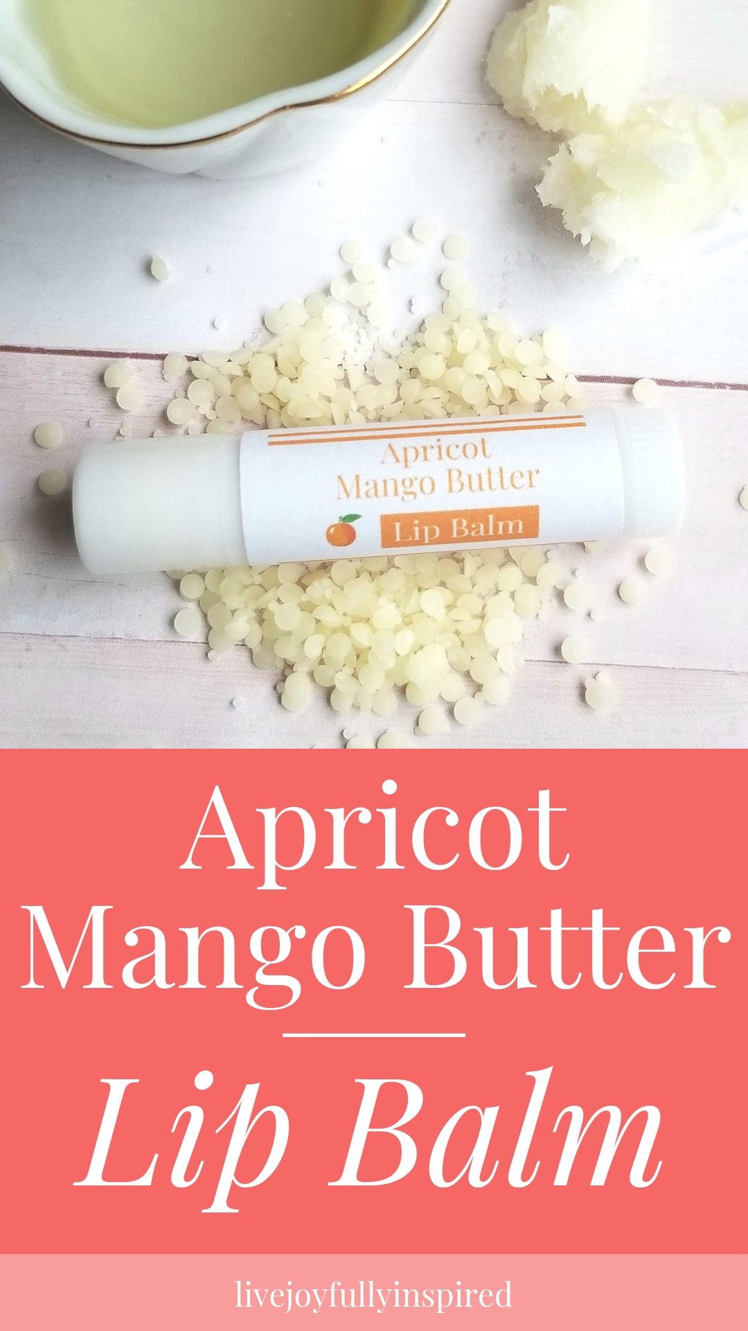 Apricot mango Butter Lip Balm. When it comes to our lips, we want them to be soft, moisturized and young looking. This lip balm contains some super awesome nutrient rich ingredients to do ALL those things. It's a beautifully scented, smooth feeling lip balm. #lipbalm #mangobutter #essentialoils