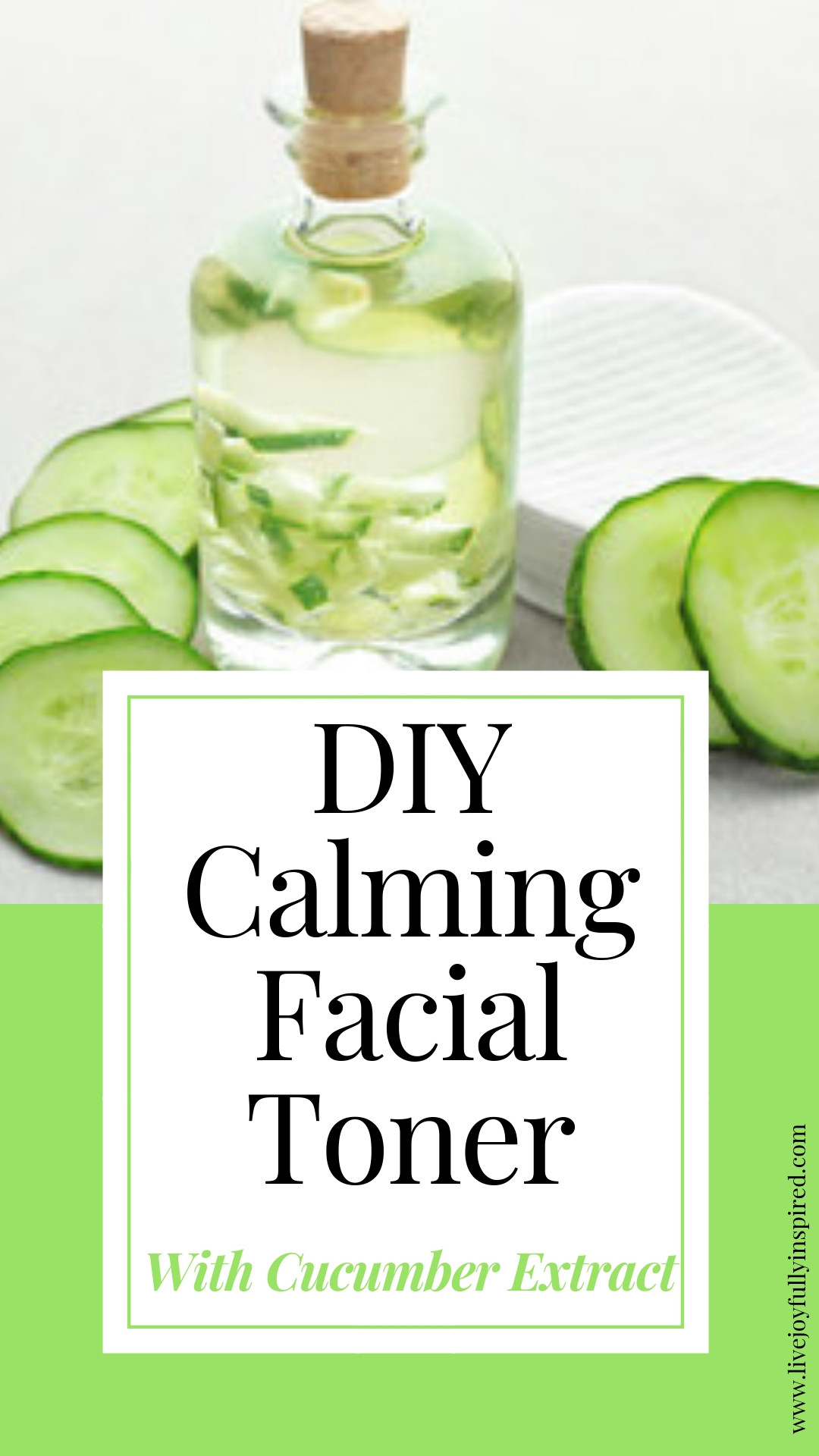 DIY Calming Facial Toner. Calm, hydrate and moisturize the skin with this easy toner. Made with all-natural ingredients to soothe and clean skin #diybeauty #cucumberextract #calmingfacialtoner