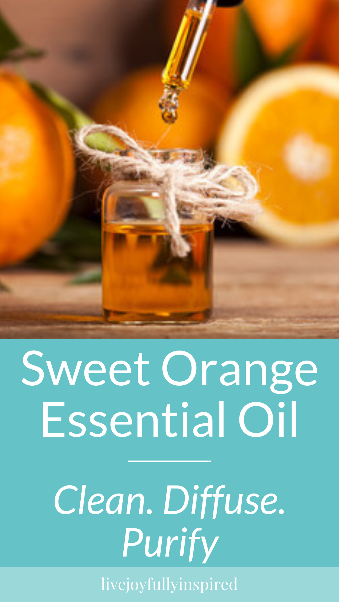 Sweet Orange essential oil is calming and uplifting. It brings a positive vibe to you the instant you get a whiff. Adding a few drops of this oil to your cleaning solution increases the cleaning power. #sweetorangeessentialoil #uplift #diffuse