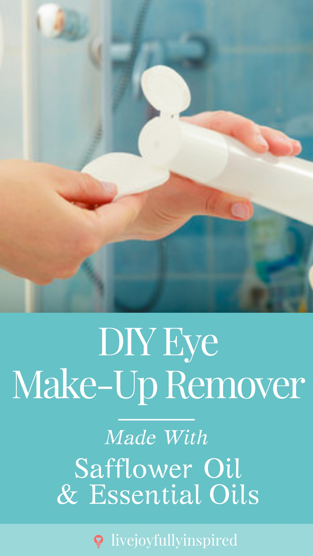 DIY Make-Up Remover. This one is full of nourishing goodies such as essential oils, infused safflower oil, and even a little aloe vera gel. It's so important to have a regular skin care regimen. #diybeauty #eyemakeupremover #essentialoils