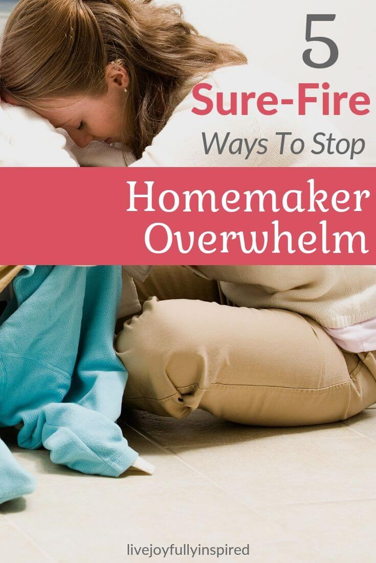 Are you feeling overwhelmed in your homemaking duties?   I get it. There's always something to do. Homemaking is a never ending cycle of laundry, dishes, appointments, vacuuming, mopping, preparing meals, taking care of whatever else need to be taken care and it's super easy to quickly become an overwhelmed homemaker. #homemaker #christianity #christianmom #wife #housework #overwhelmed #homemaking