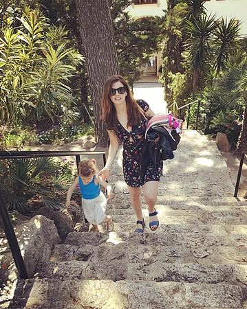 Stephanie and her daughter in Mallorca