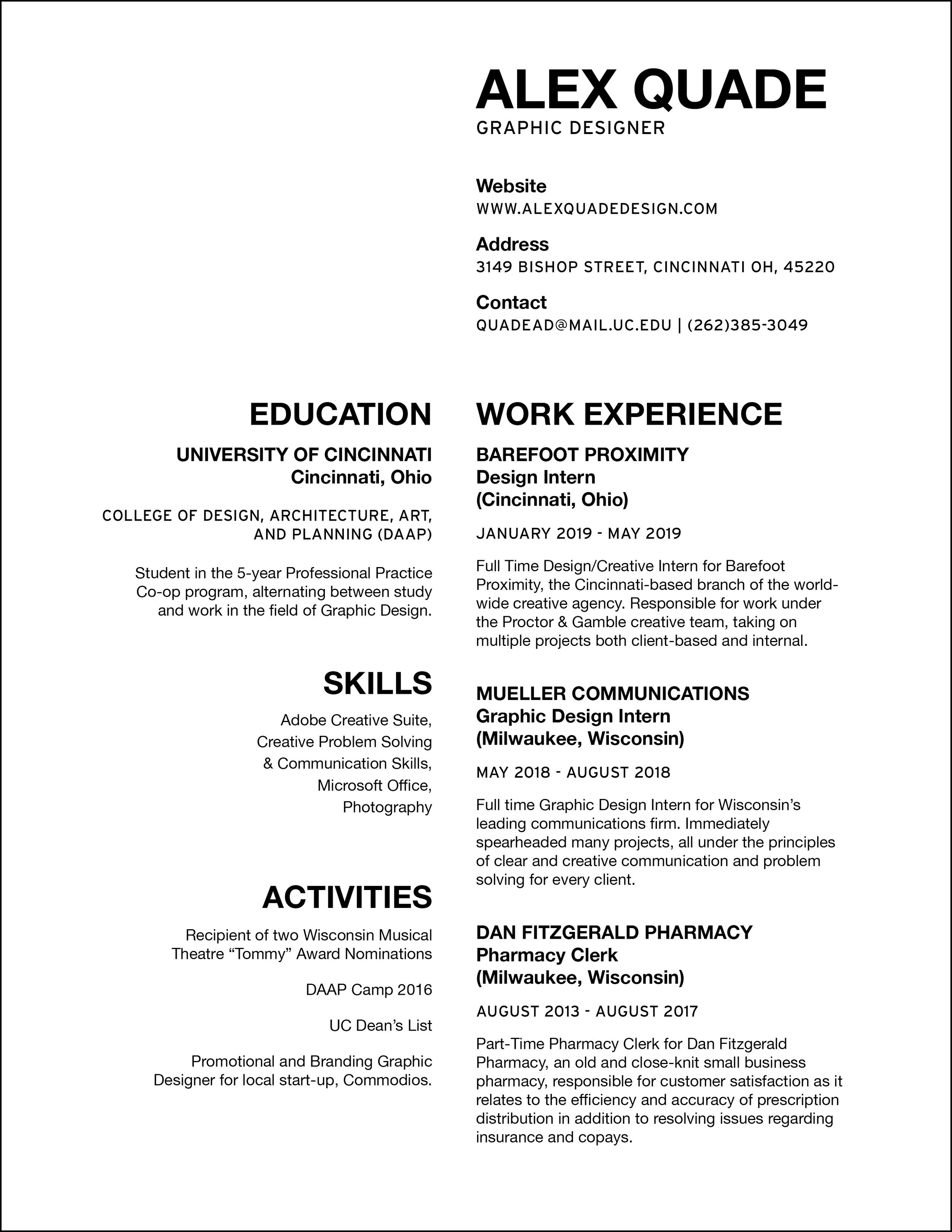 resume — Alex Quade
