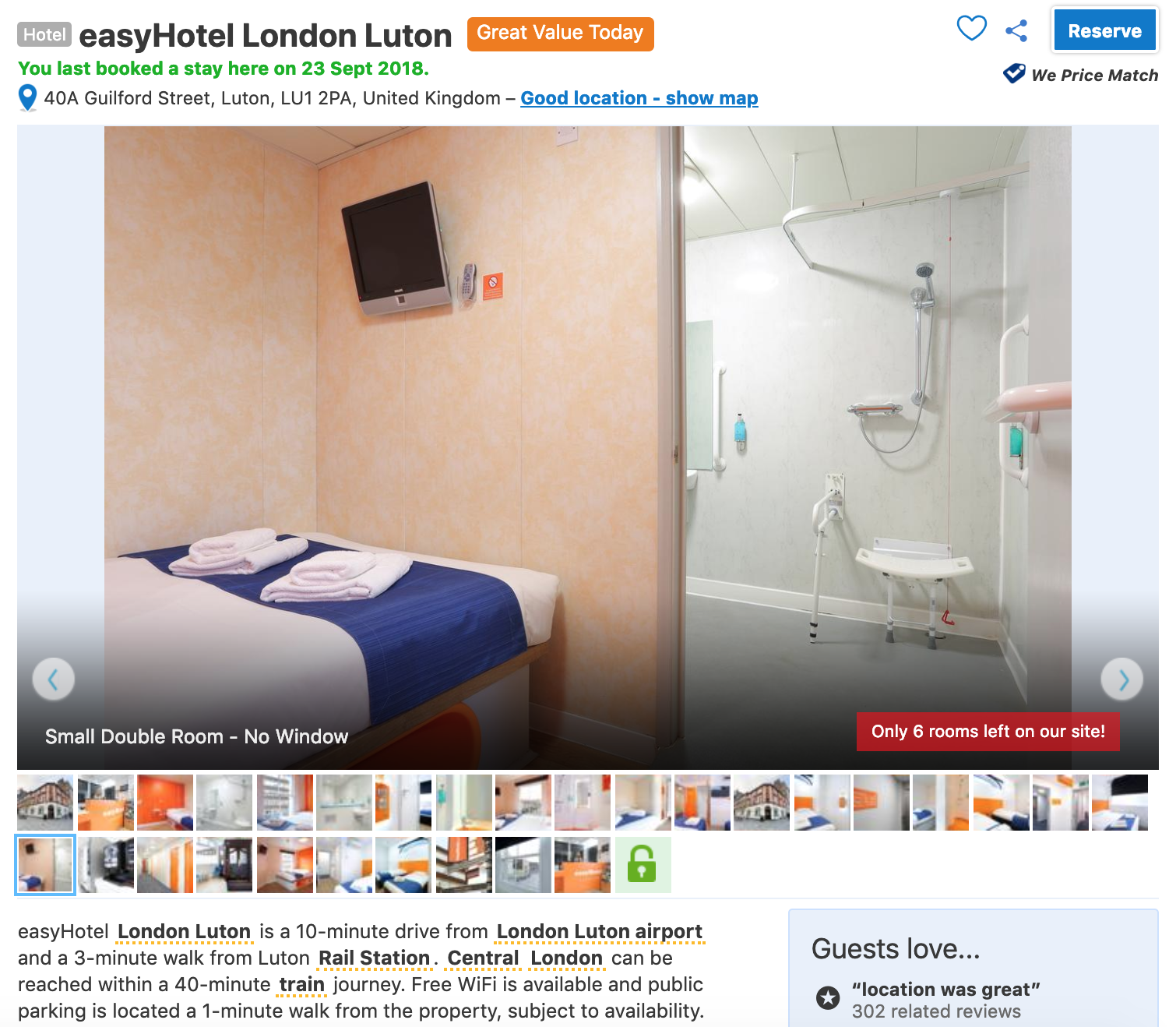 Screenshot of easyHotel London Luton on booking.com