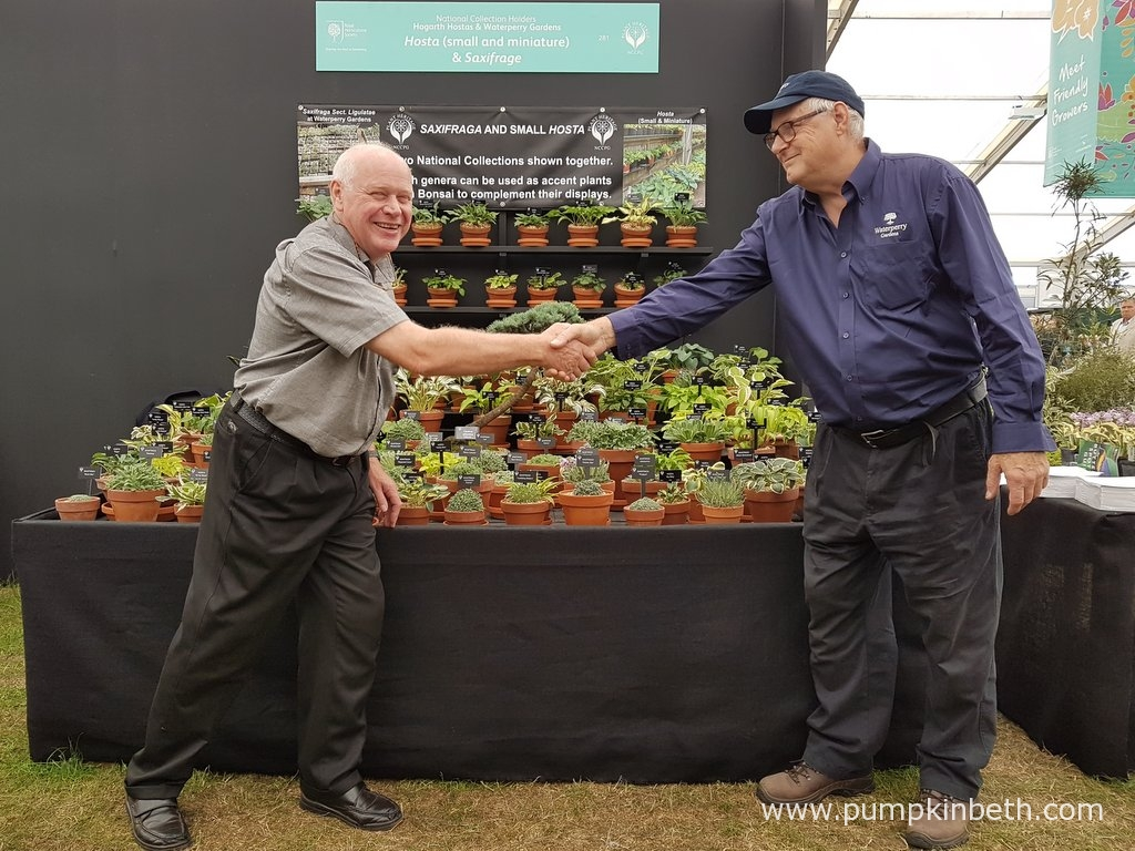 Jonathan with Adrian Young of Waterperry Gardens and their joint, award-winning display