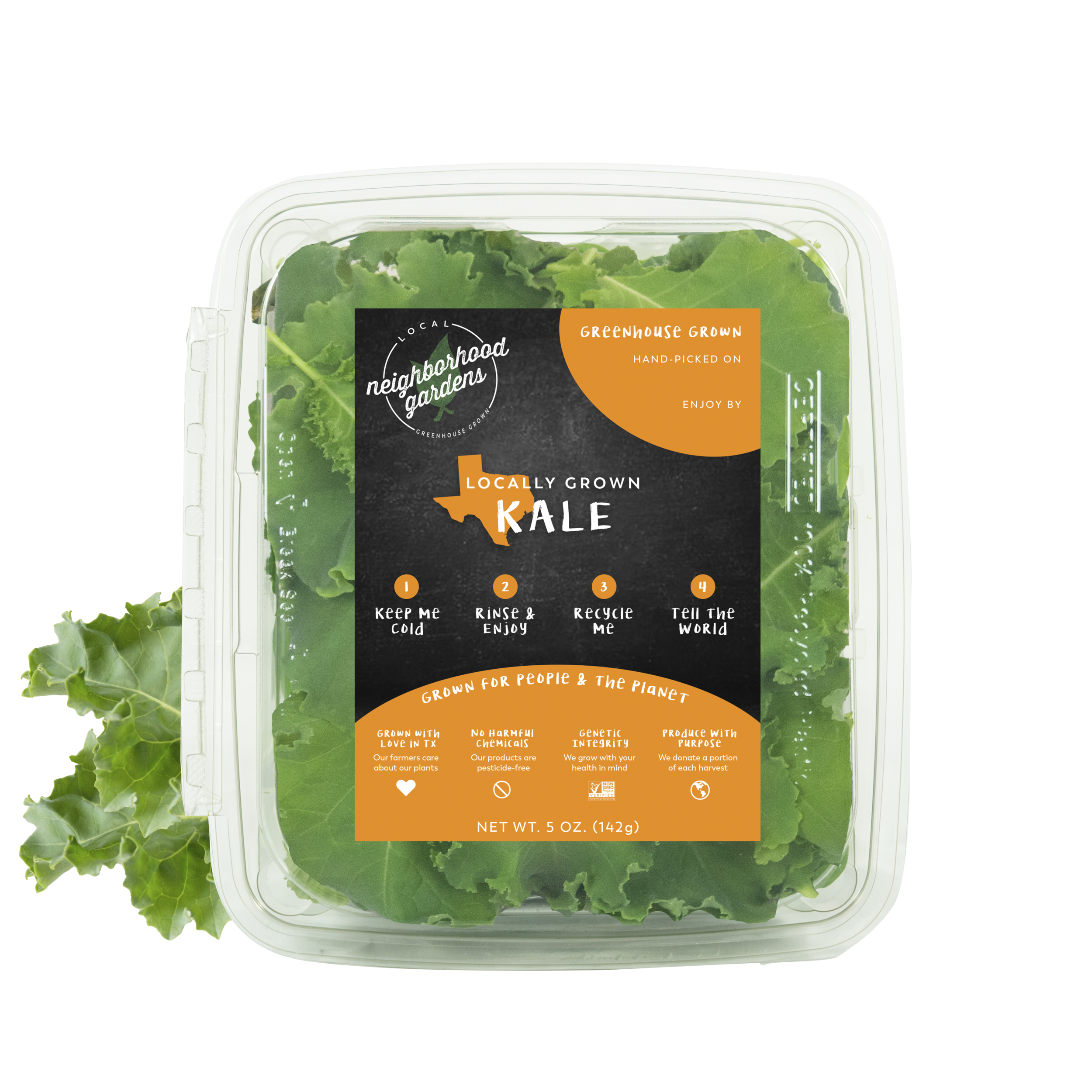 Kale - A tender, flavorful blend of locally greenhouse grown kale. We harvest our kale while the leaves are still soft and supple bringing you a taste that you won't forget. Each kale leaf is carefully harvested and packed by hand so that you'll fall in love with every forkful.