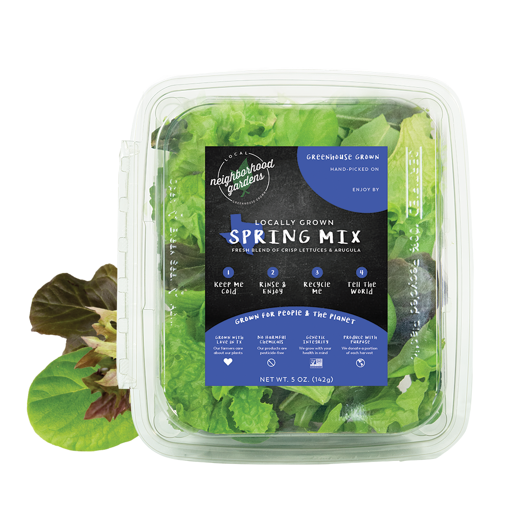 Spring Mix - A refreshing blend of sweet leafy greens featuring our bold, peppery arugula. Our spring mix is made up of the perfect balance of lettuces and herbs so that you can experience the taste of Texas in every bite.