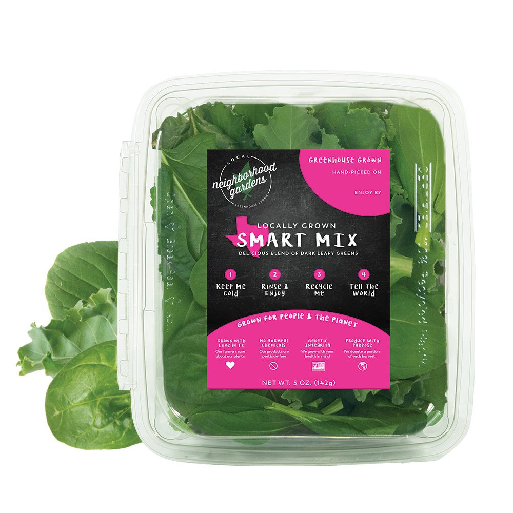 Smart Mix - A rich blend of dark leafy greens. This is one of our most popular mixes as it combines our tender kale and spinach with a delicious blend of Asian greens.