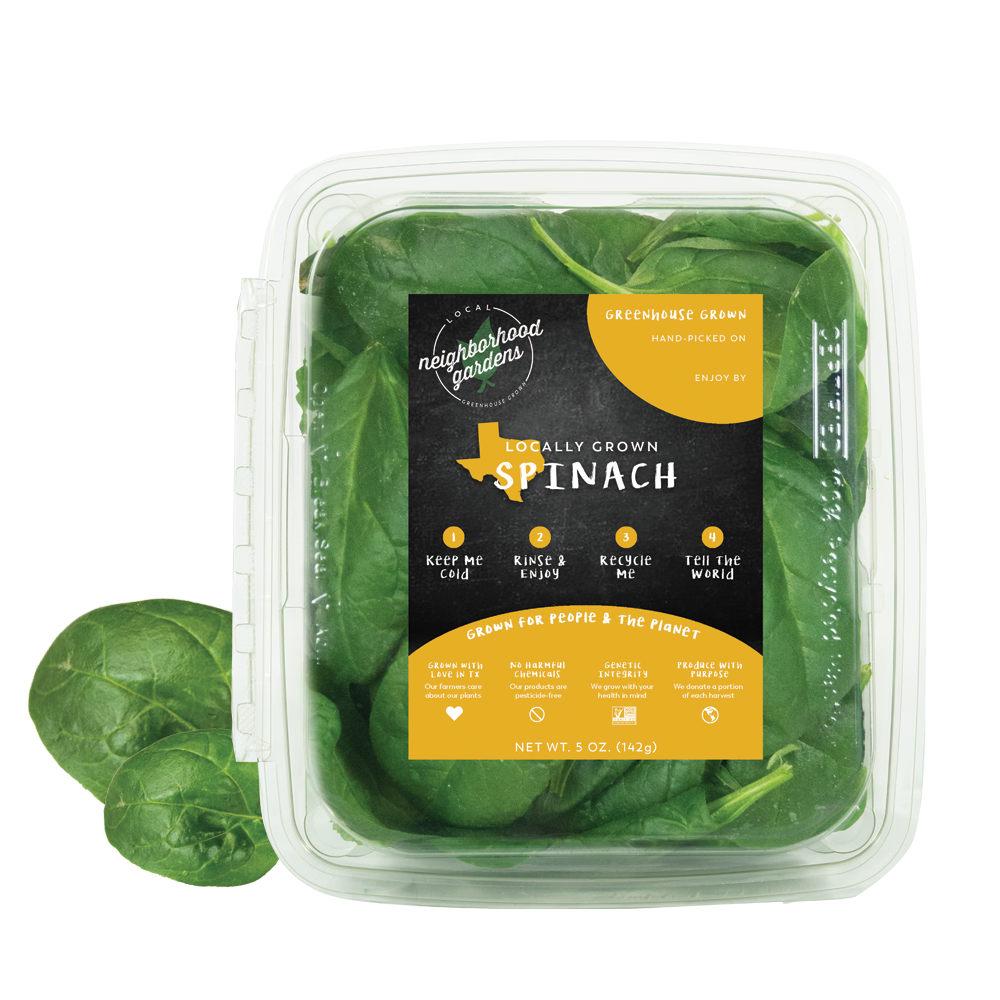 Spinach - Our fresh, tender spinach is the perfect base for any tossed salad or dinner recipes. Enjoy the refreshing taste of tasty, greenhouse grown greens that are available on shelf faster than traditional field grown produce.