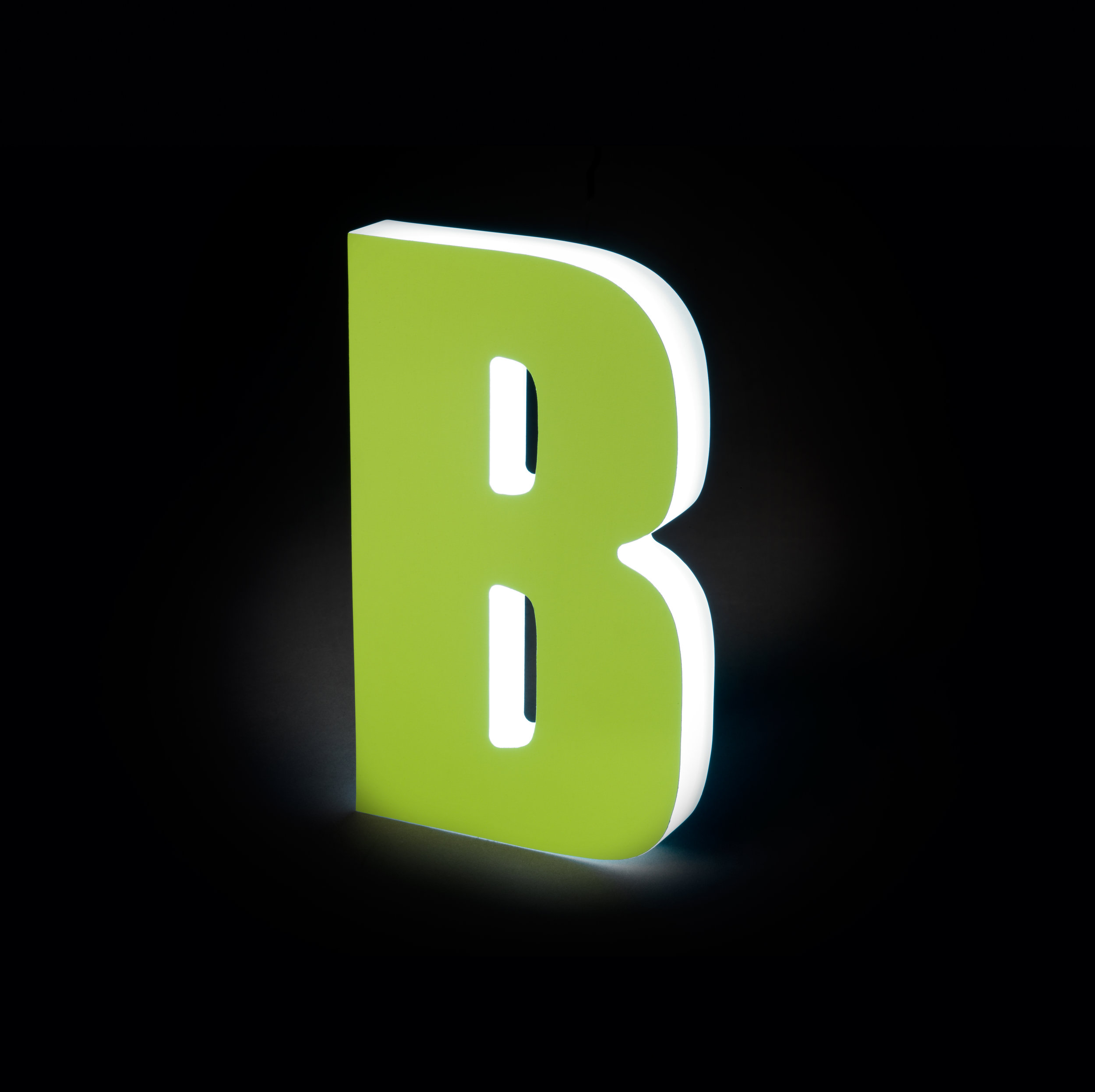 Sidelit Neon Green Vinyl Face with Glowing Sides