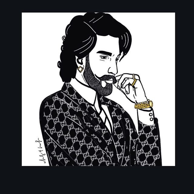 A  V I S I O N to reality. We chose an image of @ranveersingh by the talented @hafandhaf to embody the values that I built #Bhatti on - of a new age Indo-America.  An Avante-garde vision which blends traditional South Asian flair with trendy modern styling.  Something which speaks to the new generation of neoteric South Asian communities who have fully embraced both eastern and western fashion and lifestyle while still maintaining the roots of their own South Asian cultures.  The pieces of art were hand drawn and printed in monotone black ink with pops of vibrant colors on a shiny gold foil background.  The overall design and styling of the restaurant is a reflection of its founder @chef.anand who has broken the mold of traditional Indian food by maintaining centuries old food preparation techniques. ..... It was all brought together by the talented team of @designhousedecor @azizan_ali ..... #bhattiindiangrill #bhattiat10 #ranveersingh #modernart #celebrityportrait #modernindian #eclecticdecor #apnatimeayega #newage #indoamerican