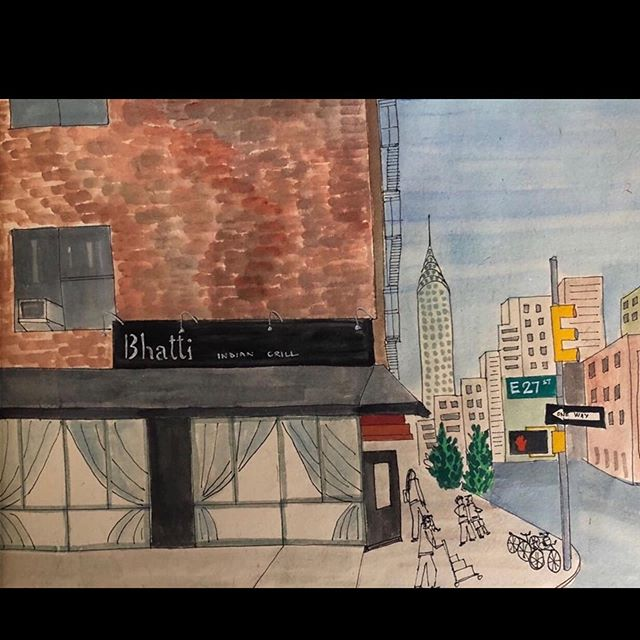 A mother painted this rendering of  B H A T T I for her daughter who lives in NYC and frequents us. She made this for her to include in her graduation album. Her standard order: dal makhani, paneer tikka, butter naan! This is true love and we love you right back, we are so touched! Thank you for this gorgeous piece of art 🙏🏼 @manywaysofseeing @amayamangaldas ..... #bhattiindiangrill #bhattiat10 #artistsoninstagram #rendering #paiting #nycrestaurants #curryhill #indianfoodnyc #indianfoodbloggers #bestindianfood #dalmakhani #bhatti #chefanand