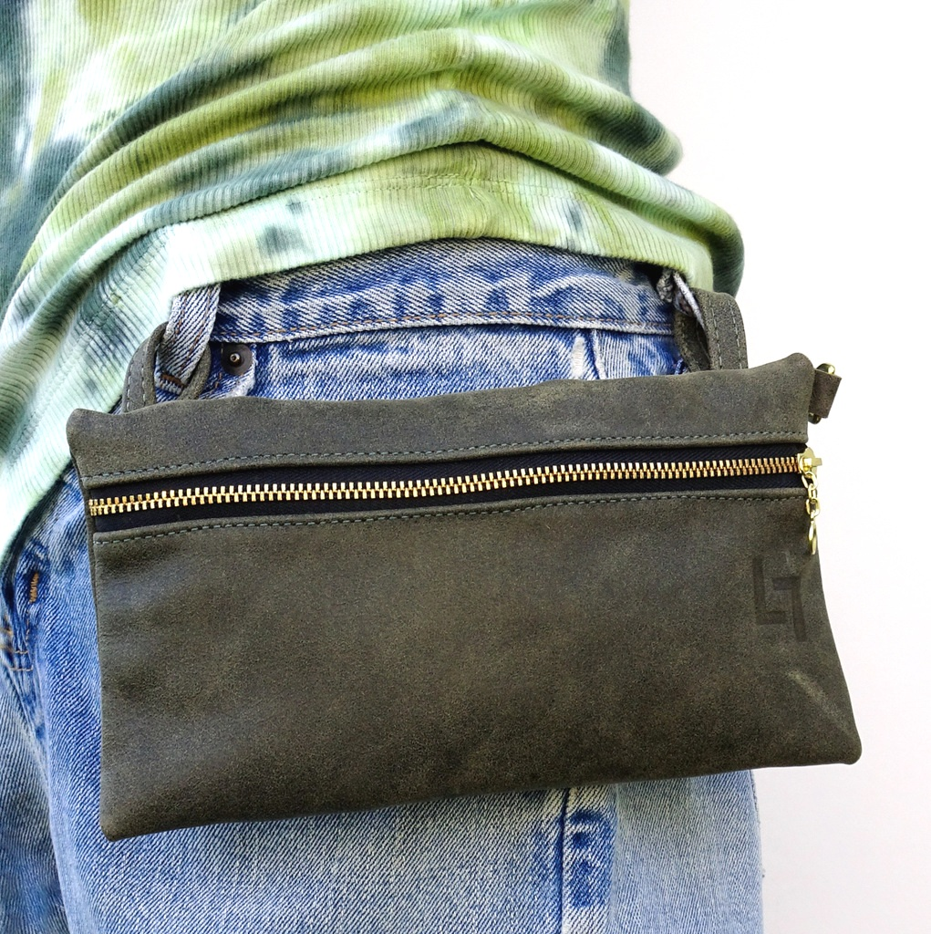 2-Handcrafted Leather Belt Bag, Hippie, LaPlace Leather, T-002.JPG