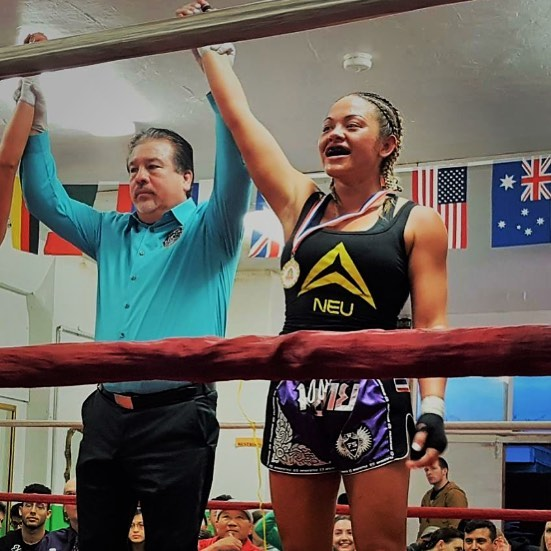 Shoutout to Jenna NEU's Muay Thai beast 🦈 An inspirational female who shows all people that drive and dedication will overcome all obstacles 🥊 #muaythai #girlpower #drinkneu #neu