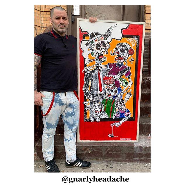 "1st acrylic painting (29.5""x57.5"") ""Day of the Dead Skinheads"" - - - #painting #acrylic #stoop #skinhead #skinbyrd #oioioi #oi! #punkrock #diadelosmuertos #sugarskulls #rudeboy #rudegirl #ska #rocksteady #painting #acrylicpainting #largepainting #bushwick #brooklyn #newyork #bleachers #bootsandbraces #sharpskin #familyphotoshoot  #family #mexico #cdmx #fredperry #portrait"