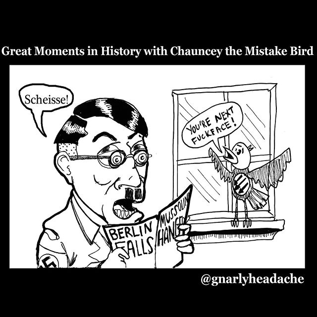 Great Moments in History - - - - #antifascist #antifa #nopasaran #hitler #goodnightwhitepride #illustration #drawing #cartoon #antiracism #partisans #politicalcartoons #bushwick #brooklyn #newyork #chaunceythemistakebird #wheredrawingsgotodie #punchnazis #bashthefash #sharpskin #rashskin #illustratorsoninstagram #artistsoninstagram #artist