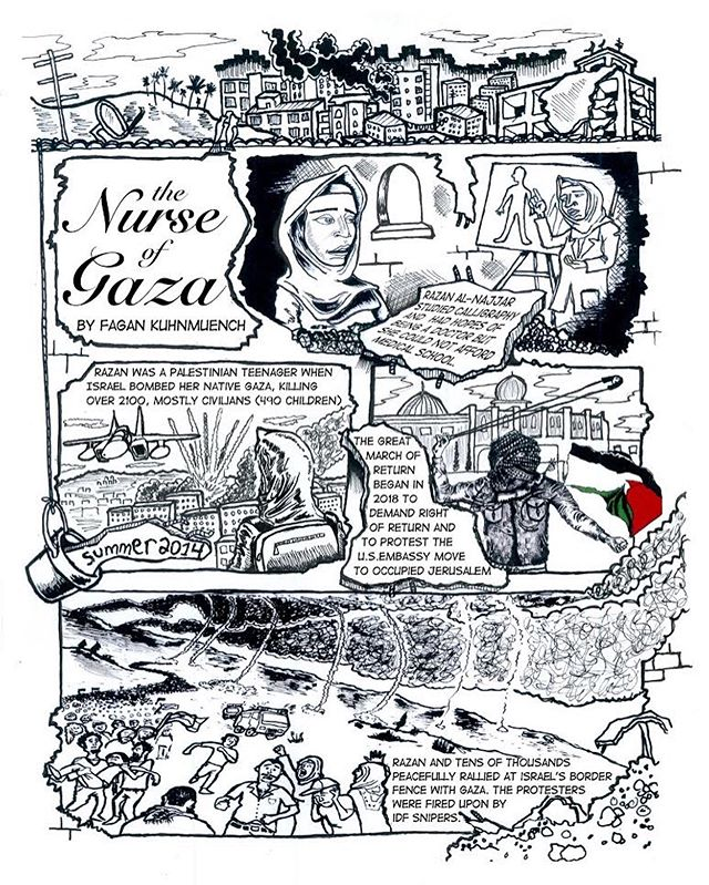Razan al-Najjar: The Nurse of Gaza #repost with zoom-in. It has been one year since this brave woman was murdered by illegal occupation forces, with bullets paid for my US military welfare. The Israeli army guns down children, aid workers, the elderly and differently abled. They bomb and bulldoze entire communities. This is ethnic cleansing. This is apartheid. This is why we #boycott. #bds - - - - #freepalestine #razanalnajjar #nurse #gaza #gazaunderattack #thegreatmarchofreturn #intifada #israelwarcrimes #illustration #art #drawing #politicalcartoons #boycottisrael #pen #marker #bushwick #brooklyn #thenurseofgaza #idf #aipac