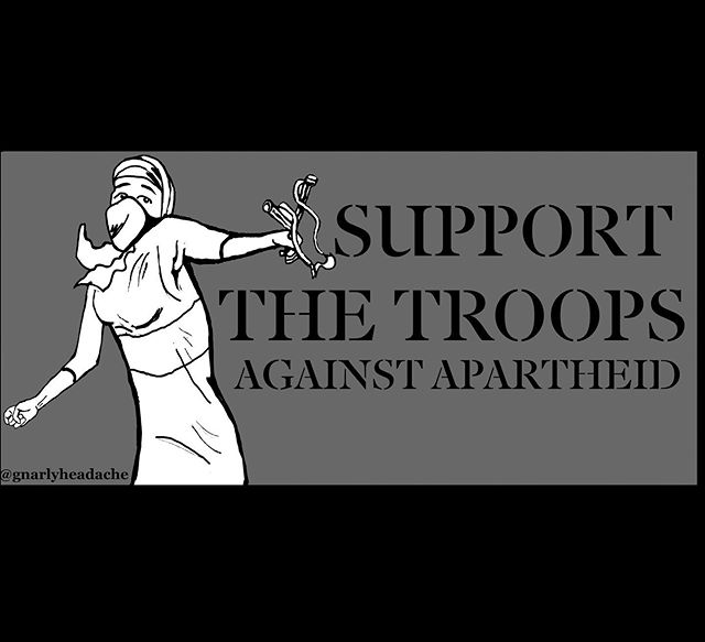 Support the troops 🇵🇸 - - - #intifada #slingshot #illustration #art #artwork #antiapartheid #antifa #antifascist #antizionism #freepalestine #greatmarchofreturn  #stickers #stonethrowers #gazaunderattack #endtheblockade #bds #boycottisrael #bushwick #brooklyn #newyork #supportthetroops