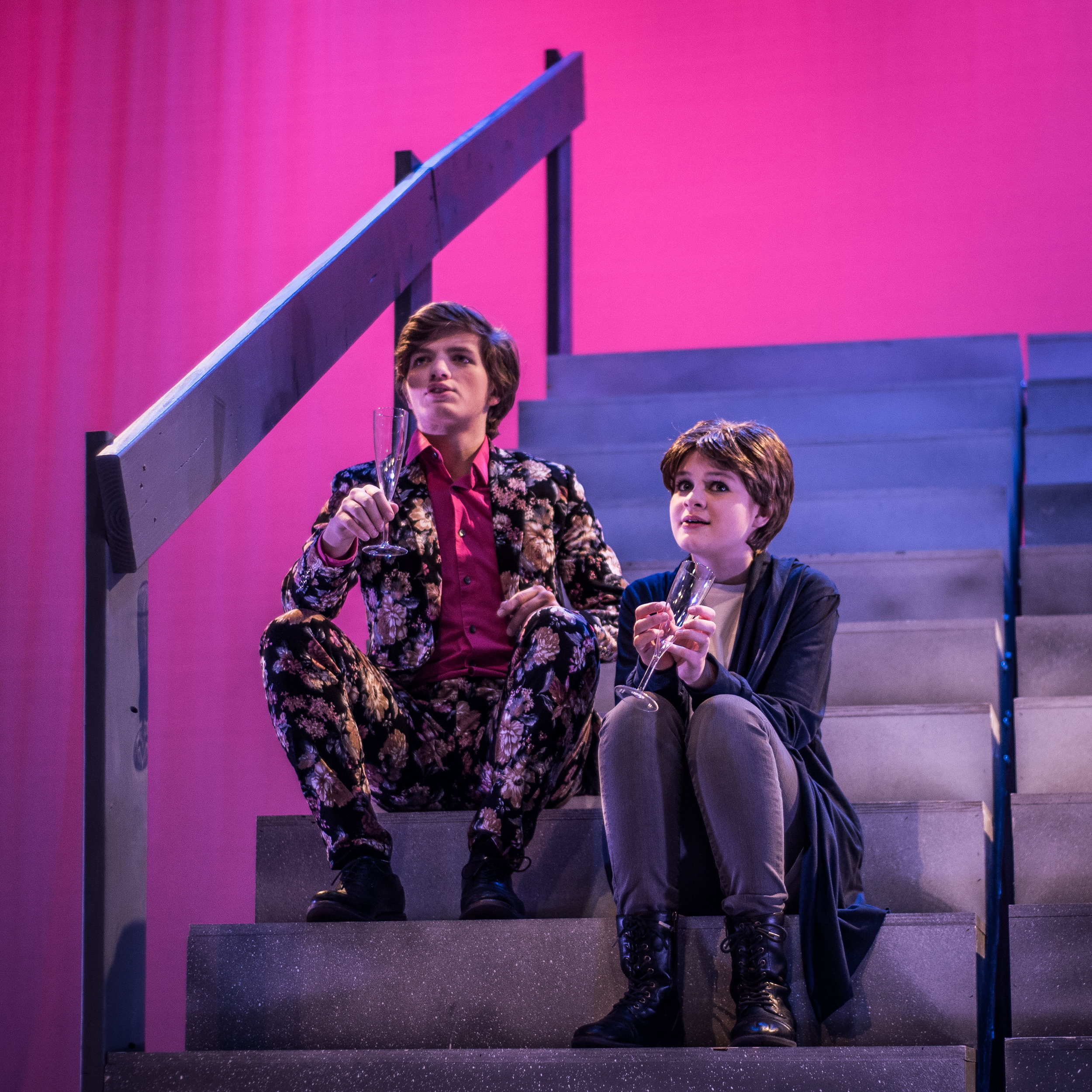 Orsino (Finn) and Viola (Ashlyn) ponder the mysteries of love in Shakespearean Youth Theatre's 2018 play,  Twelfth Night