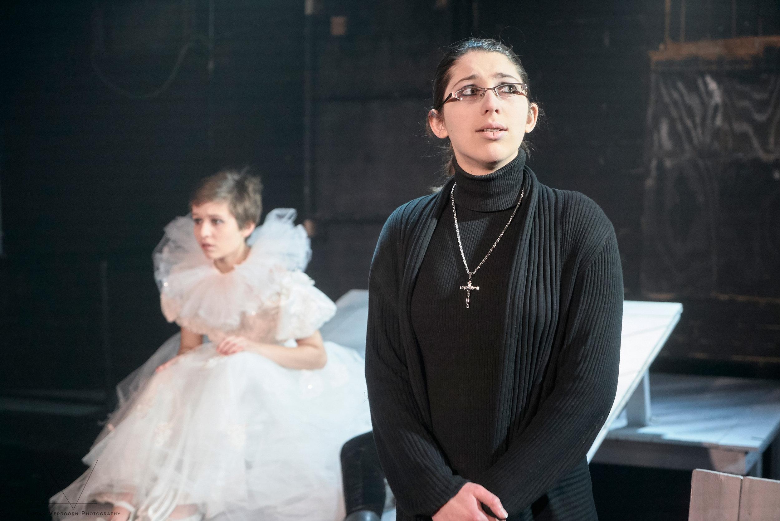 Ellie Haugen as Juliet and Alex Carroll as the Friar in the SYT Core Ensemble production of ROMEO & JULIET (2017)  Photo: Logan Verdoorn