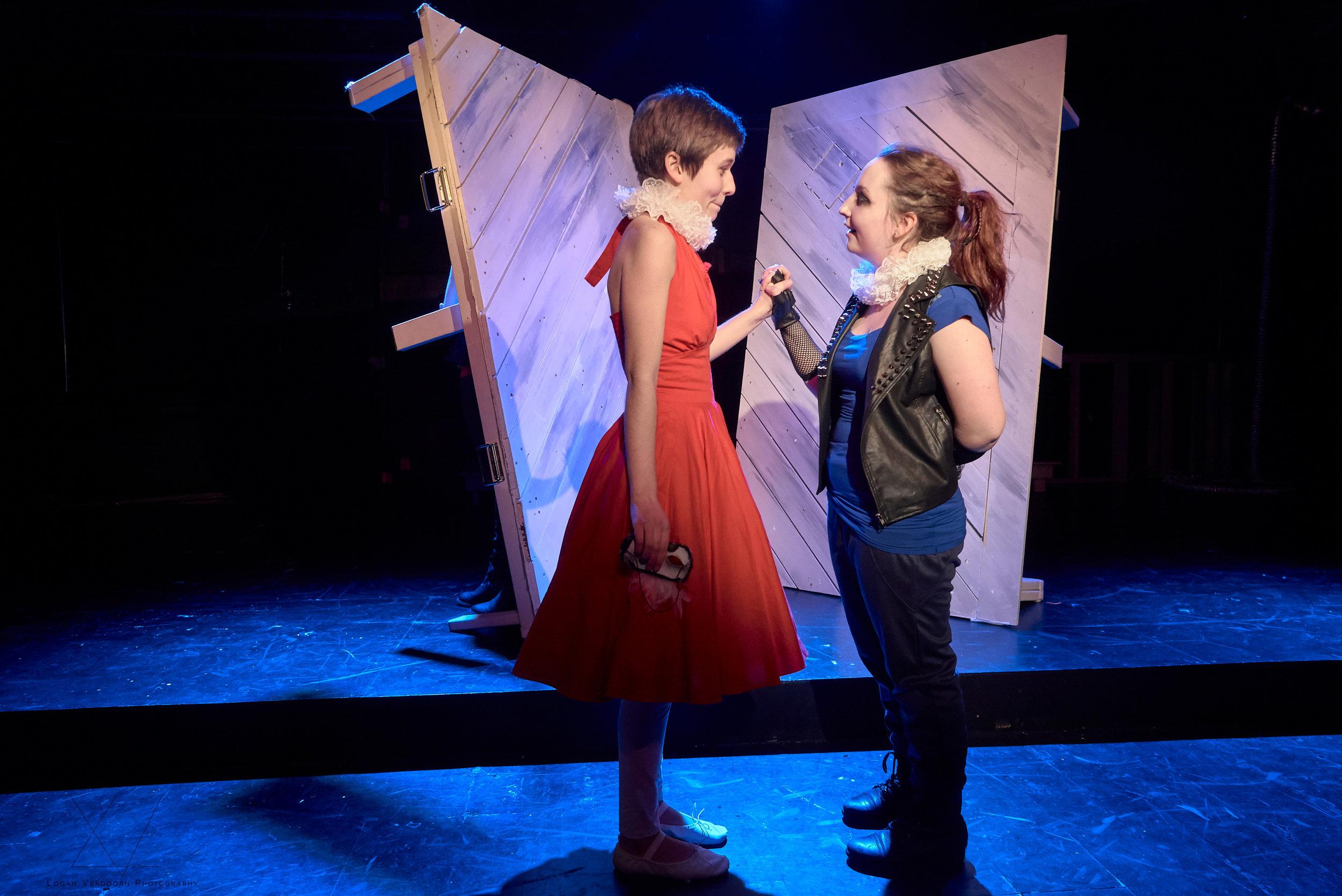 Ellie Haugen as Juliet and Elisabette Hinze-Francis as Romeo in the SYT Core Ensemble production of ROMEO & JULIET (2017)  Photo: Logan Verdoorn