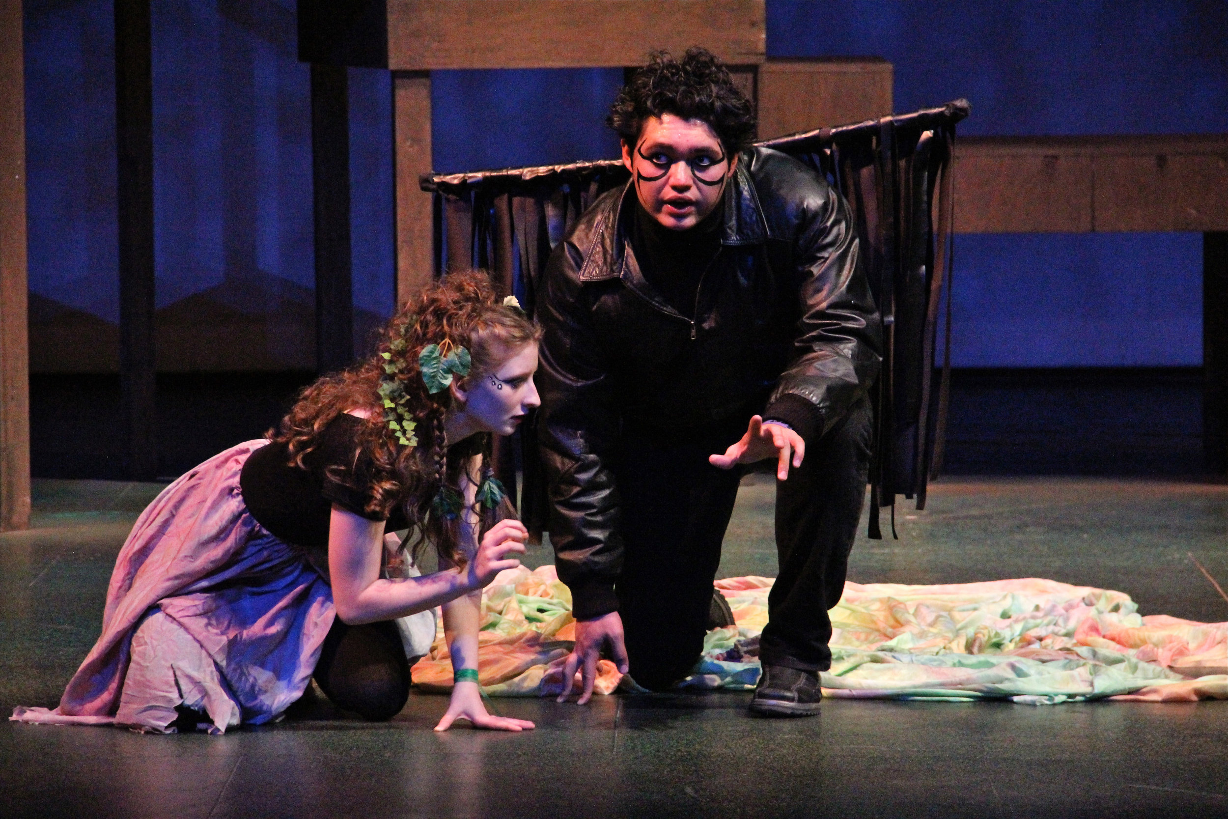 Amalia Hertel as Puck and Anthony Cadiz as Oberon in the SYT Core Ensemble production of A MIDSUMMER NIGHT'S DREAM (2012)  Photo: Robyn Lingen