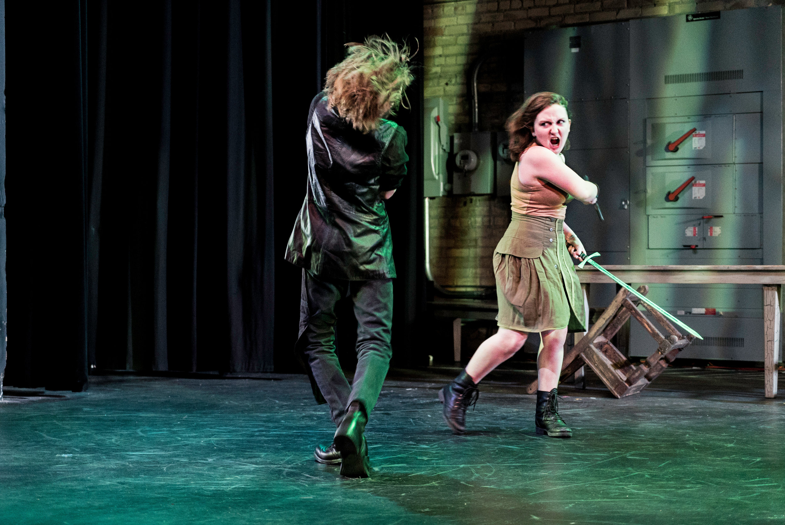 Elisabette Hinze-Francis as Macduff in the SYT Core Ensemble production of MACBETH (2016)  Photo: Logan Verdoorn