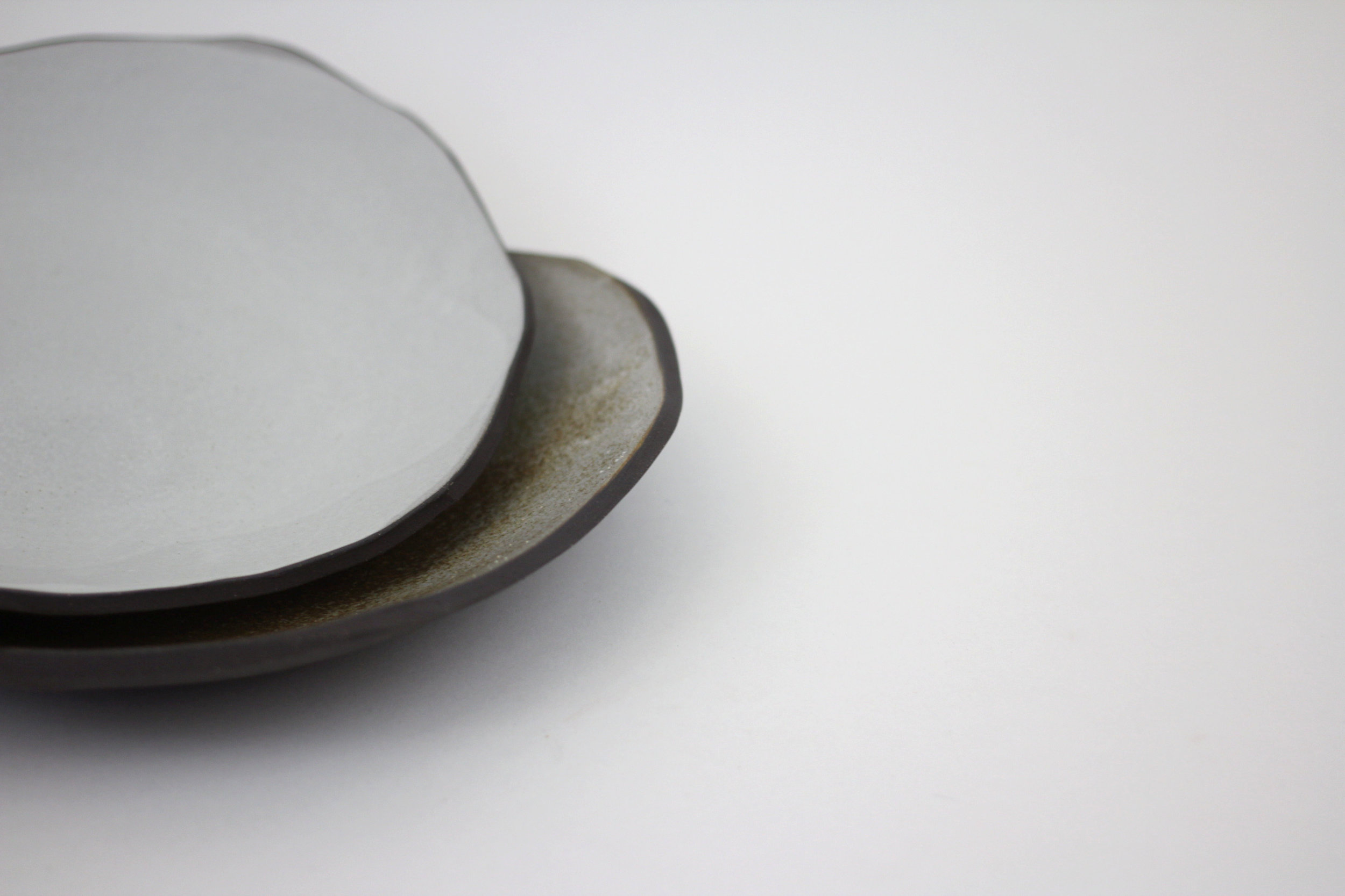 shallow bowl, white and speckle