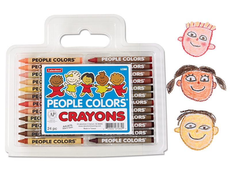 """[Image Description: Clear plastic container with handle with 24 crayons of various skin colors enclosed. White and blue label features five children of various colors and reads """"People Colors Crayons"""". To the right there are three crayon drawings of children of different colors.]"""