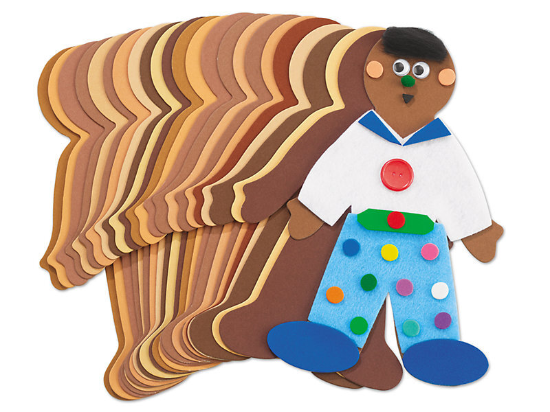 [Image Description: Foam cutouts in the shapes of people in various skin tones are fanned out. The one on top is brown and is decorated with a white shirt with a blue collar, blue pants with polkadots, blue shoes, black hair, googly eyes, a nose, mouth. and pink cheeks.]