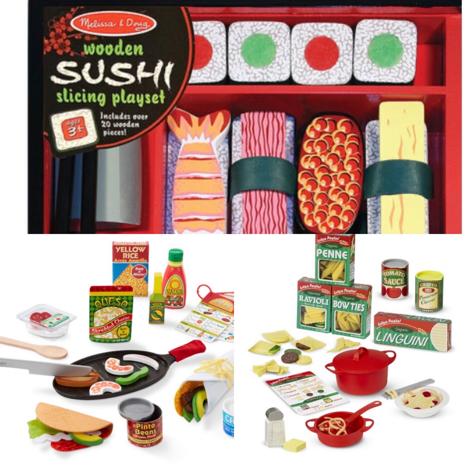 """[Image Description: Top: Melissa & Doug's Wooden Sushi Playset with various pieces of wooden sushi and chopsticks. Reads """"Wooden Sushi Slicing Playset. Includes over 20 wooden pieces"""". Bottom Left: Melissa & Doug Mexican Food Playset. There is play food including a jar of salsa, a bottle of hot sauce, a box of yellow rice, a bag of queso, a wooden spoon and knife, a skillet with wooden shrimp and vegetables, toy taco, toy burrito, and a toy can of pinto beans. Bottom Right: Melissa & Doug Italian Food Playset. Four pretend boxes of pasta including Penne, Ravioli, Linguini, and Bow Ties. There is fabric pasta inside the boxes. Also pictured are a menu, pot and pan, as well as a fork, butter, and wooden salt shaker.]"""