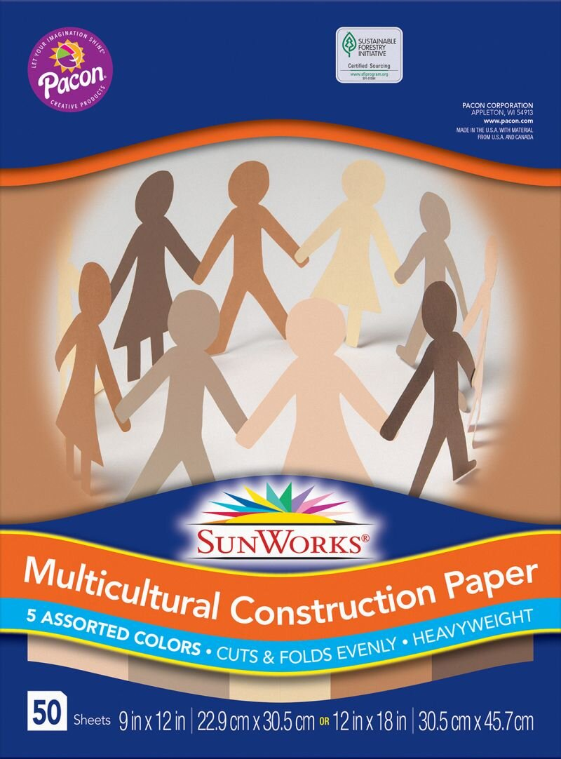 """[Image Description: A package of Pacon brand Multicultural Construction Paper. On the front there are cut out people of various skin tones holding hands. The packaging reads """"Pacon Sun Works Multicultural Constrution Paper 5 Assorted Colors Cuts & Folds Evenly Heavyweight 50 Sheets""""]"""