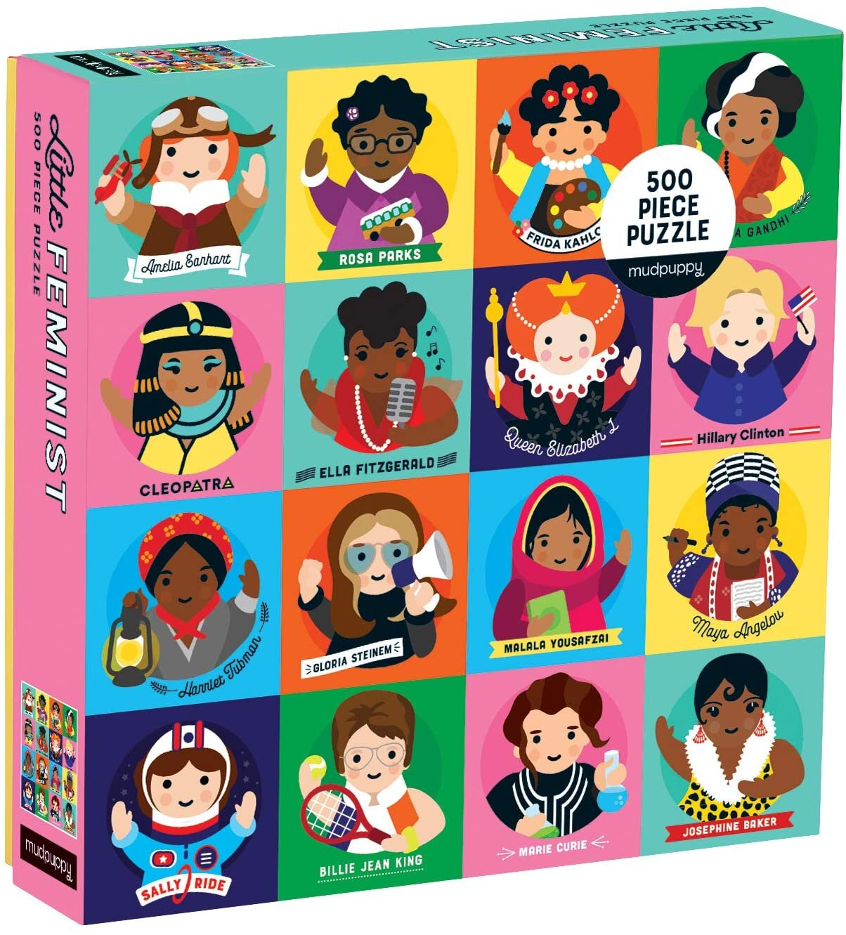 """[Image Description: A box that reads """" Little Feminist 500 Piece Puzzle."""" The box features cartoon illustrations of 16 famous women including Amelia Earhart, Rosa Parks, Frida Kahlo, Indira Gandhi, Cleopatra, Ella Fitzgerald, Queen Elizabeth I, Hillary Clinton, Harriet Tubman, Gloria Stinem, Malala Yousafzai, Maya Angelou, Sally Ride, Billie Jean King, Marie Curie, and Josephine Baker.]"""