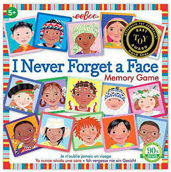 """[Image Description: Box featuring cards with various pictures of different kids form around the world. The box reads """" I Never Forget A Face Memory Game"""".]"""