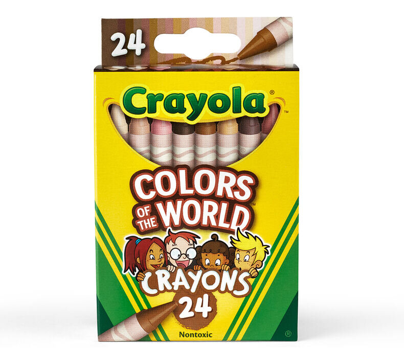 """[Image Description: A box of crayola crayons with yellow and green packaging. There are four children of varying skin tones pictured and the box reads """"Crayola Colors of the World Crayons 24 Nontoxic"""".]"""