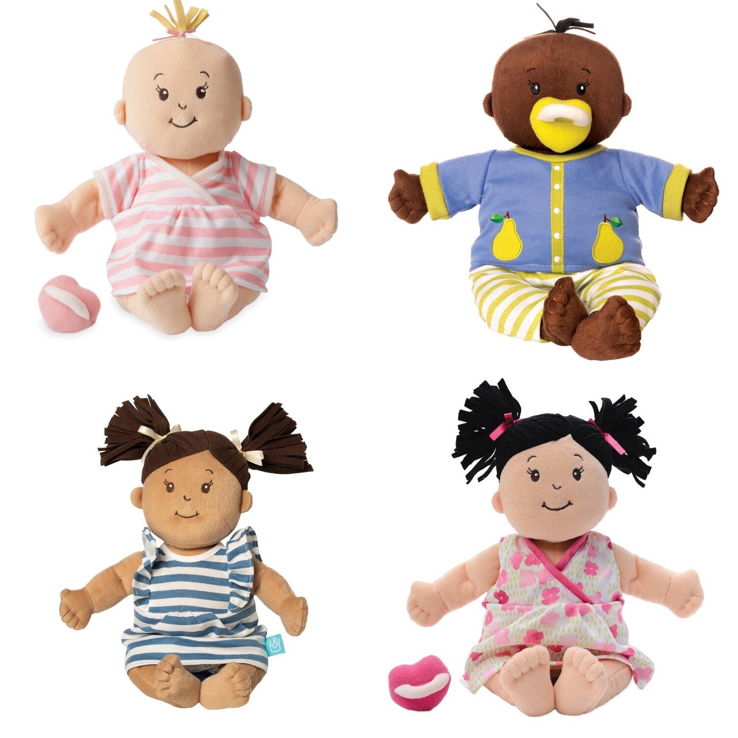 """[Image Description: Four soft baby dolls. Top left: A peach colored doll with a blonde sprout of hair on the top of their head. They are wearing a pink and white striped dress. There is a pink heart-shaped pacifier next to them. Top Right: A brown doll with a sprout of dark brown hair on the top of their head. They are wearing a blue top with pear's on it and yellow and white striped pants. They have a yellow heart-shaped pacifier in their mouth. Bottom Left: A tan doll with brown pig tails. They are wearing a blue and white striped dress. Bottom Right: A peach colored doll with back pig tails. They are wearing a pink floral dress. Next to them is a pink heart-shaped pacifier"""".]"""