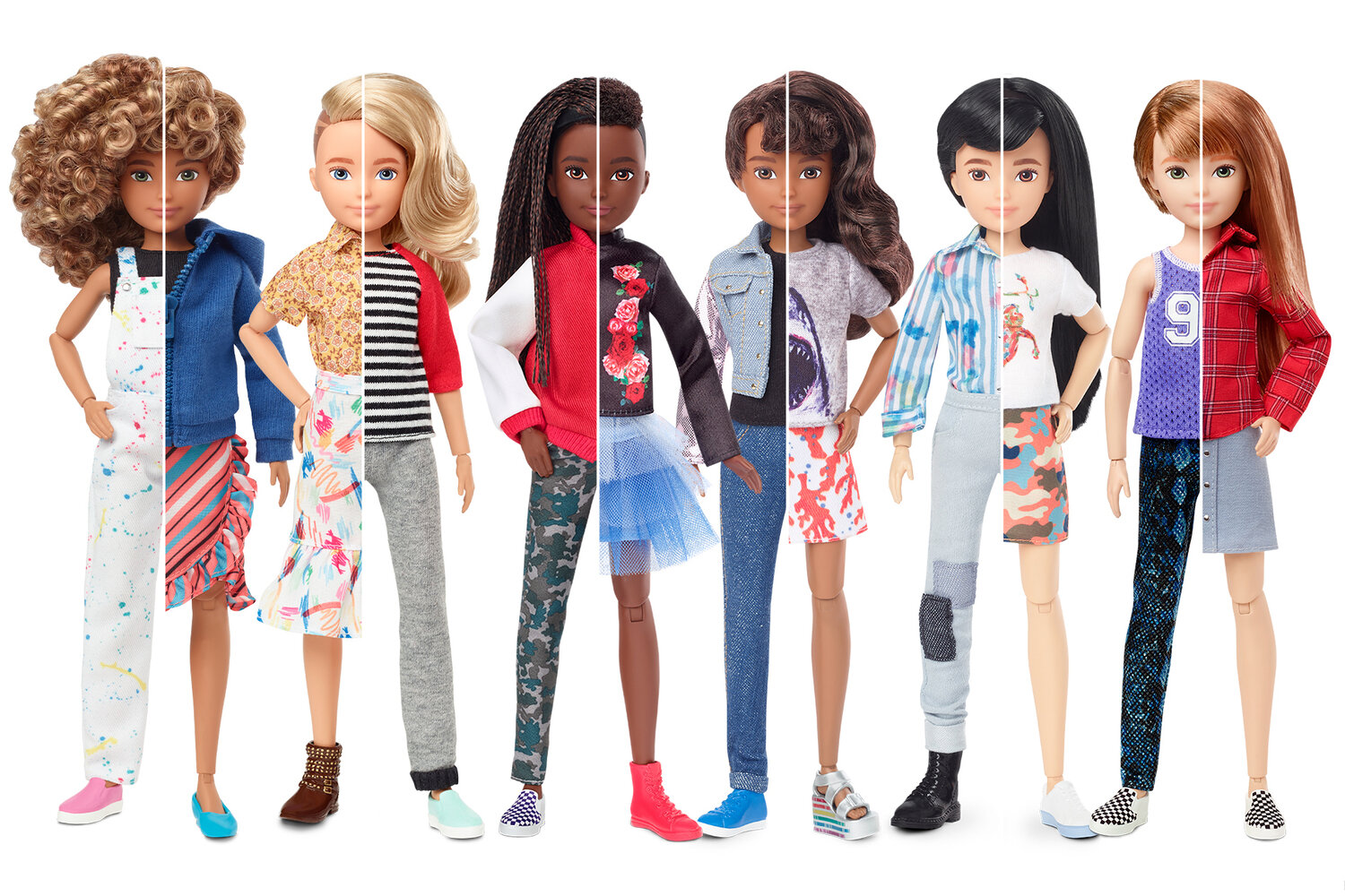 [Image Description: Six dolls that are each split down the middle. The right of each doll is a more feminine expression with long hair and the left of each doll is a more masculine expression with short hair. The doll to the far left has caramel skin and curly light brown hair. The second doll from the left has light skin and straight blonde hair. The third doll from the left has dark brown skin and dark brown hair. The third doll form the right had light brown skin and dark drown curly hair. The second doll form the right has light skin and straight black hair. The doll to the far right has light skin and straight auburn hair.]