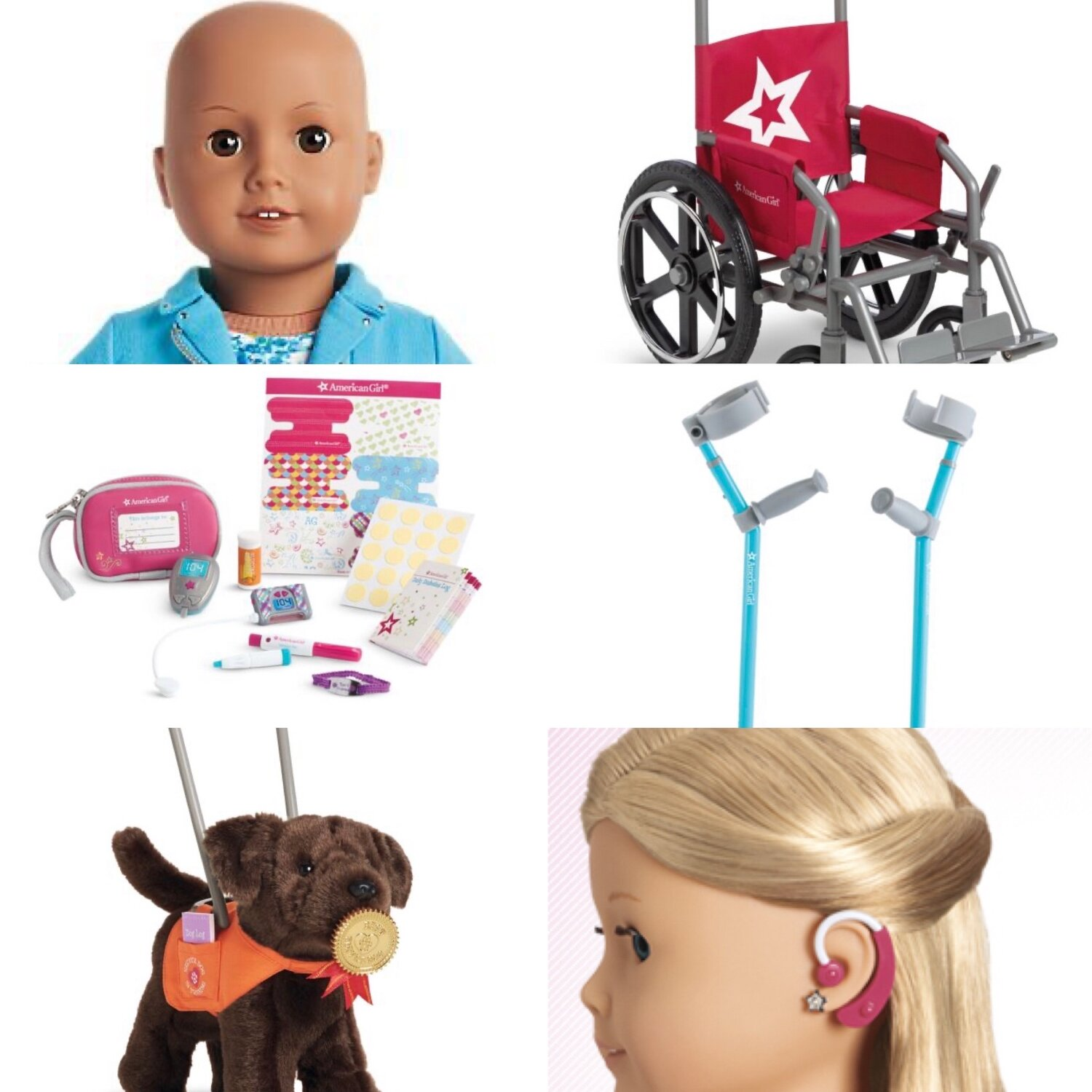 [Image Description: Six Images. From Top Left to bottom right: American Girl Doll with no hair. Doll wheelchair. Diabetes kit for dolls. Arm crutches for dolls. Service dog with vest. Doll with hearing aid.]