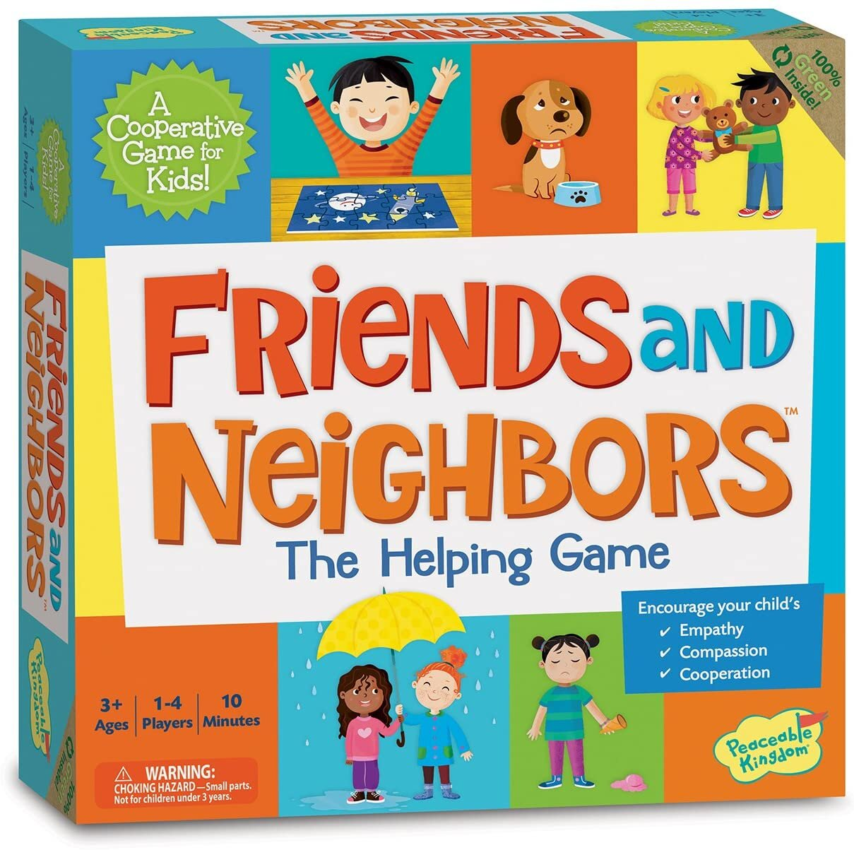 [Image Description: Image of the Friends and Neighbors Helping Game. Features various images of children. For ages 3 and up. 1-4 players. 10 minute game length.]