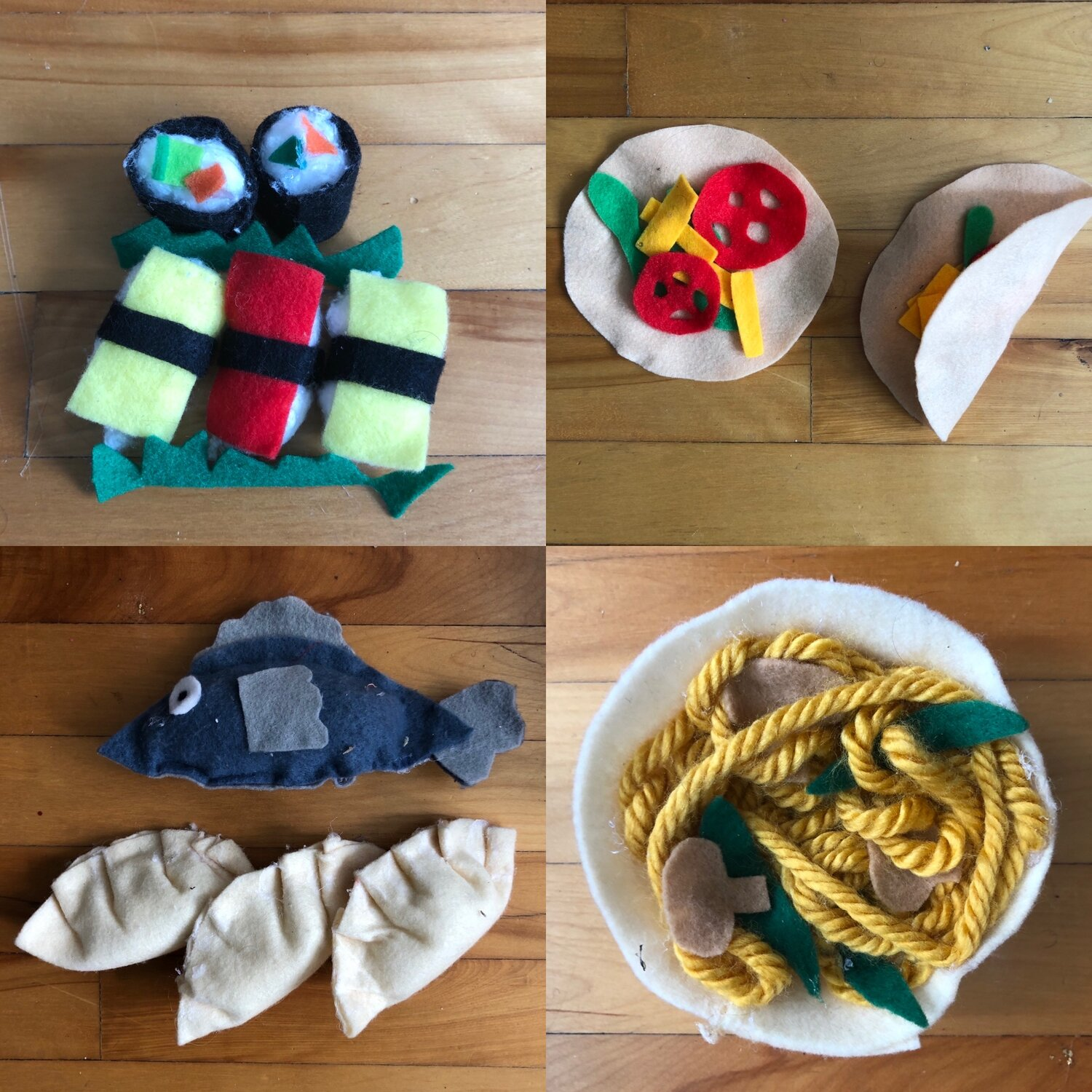 [Image Description: Top Left: Felt sushi including two maki rolls and three nigiri rolls. Top Right: Tow felt tortillas with felt tomatoes, cheese, and lettuce. Bottom Left: Three felt gyoza (dumplings) and one felt fish. Bottom Right: Felt bowl with yarn noodles and felt mushrooms and bok choy.]