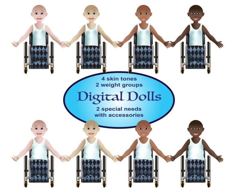 """[Image Description: Two rows of four paper dolls using wheelchairs. The top row is thinner while the dolls on the bottom row are thicker. There are four different skin tones, peach, tan, caramel, and brown. Text reads '""""4 skin tones 2 weight groups Digital Dolls 2 special needs with accessories"""".]"""