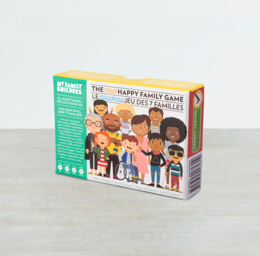 [Image Description: The Happy Family Game Box. The cover of the box features eleven individuals of varying ages, abilities ,and races.]