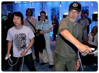 Miyamoto y Spielberg jugando a la Wii