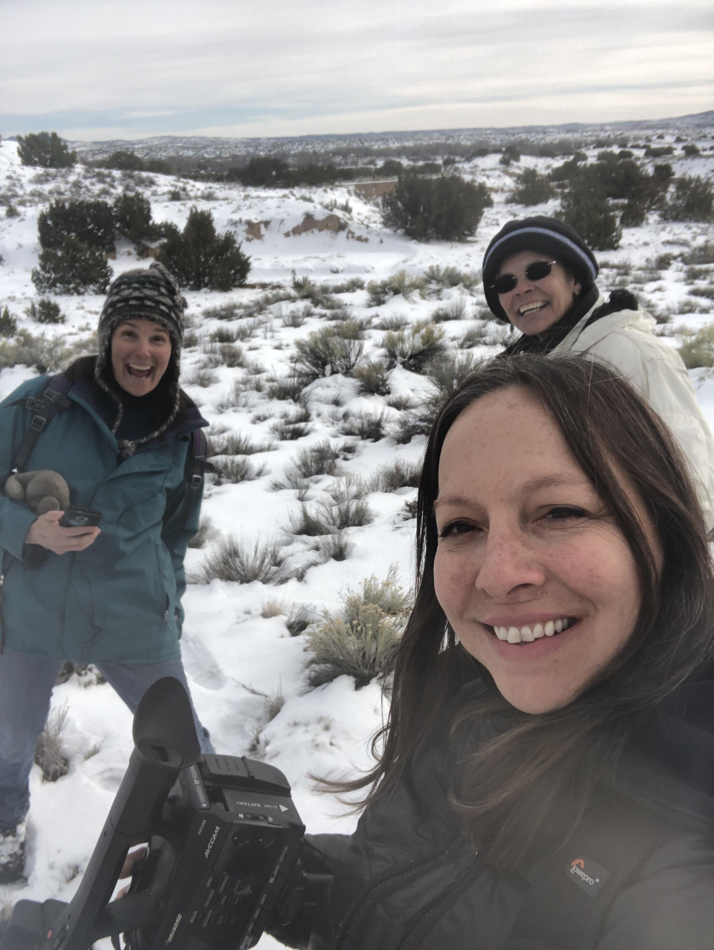 Drs Laura K Marsh, Lynne Gaffikin, and Stephanie Constantine filming the first SANDWALK podcast teaser, February 2019.