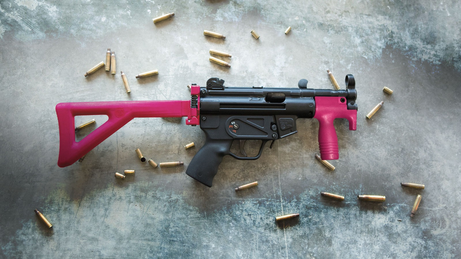 Lady Gunfighter Package - Ladies were no stranger to the gunfighter ways, just ask Annie Oakley! The Lady Gunfighter package is a customer favorite with the best all-around firearm combination. This package includes the Pink Glock 17, Pink MP5 and the Pink Shotgun.