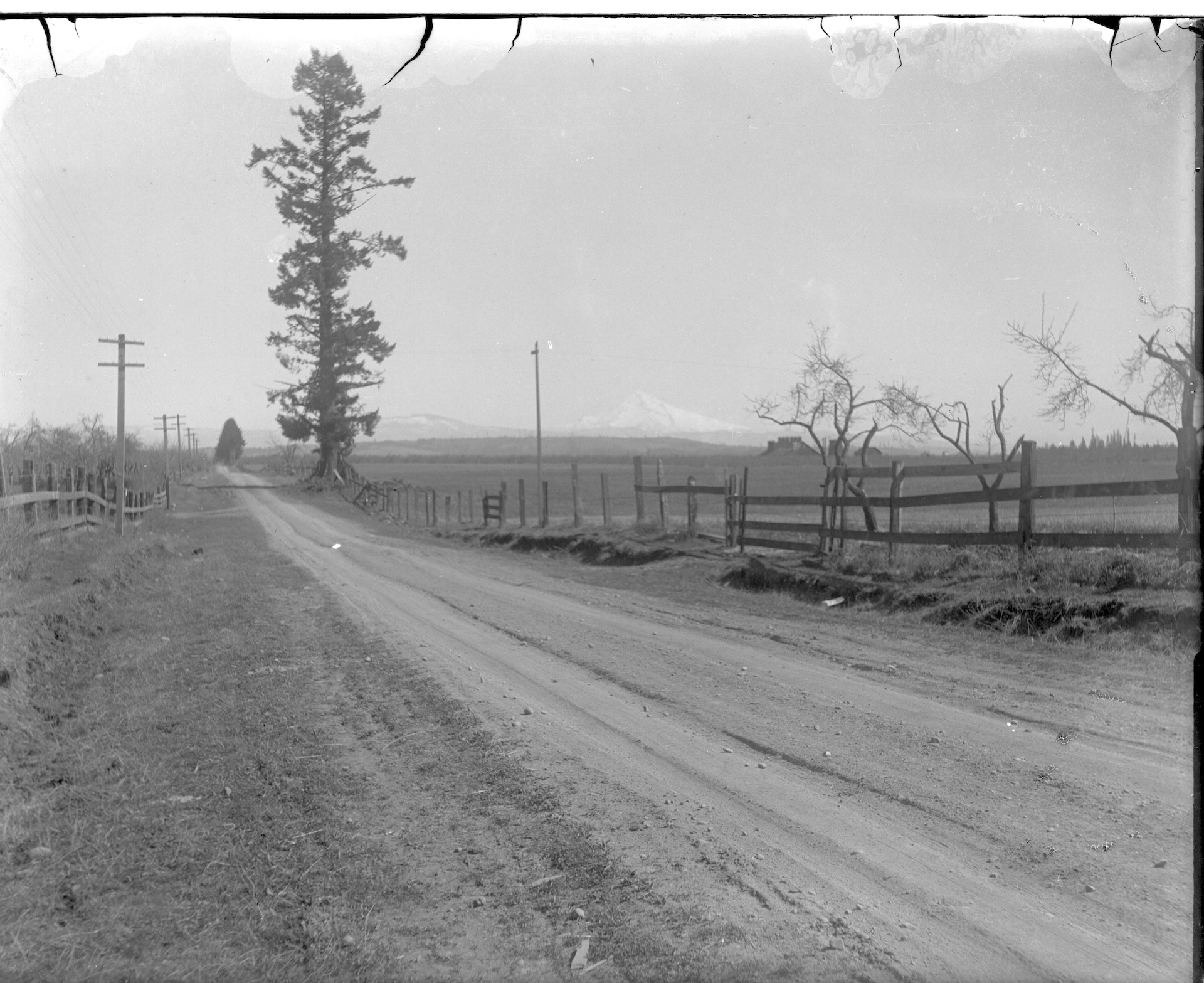 Route 1 (now Southeast First Street) with Mt Hood in the distance.