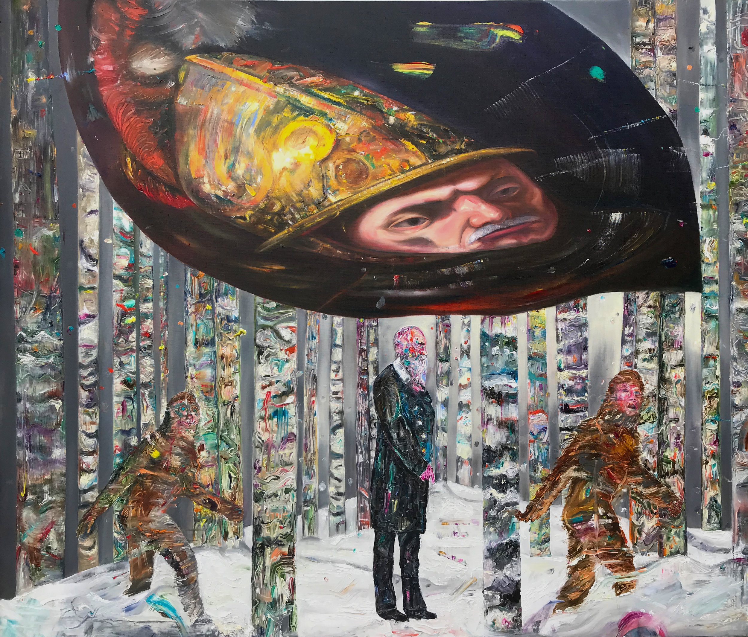 ©Under the golden Helmet of Darwin /  Oil on Canvas  / 100X140CM/2018