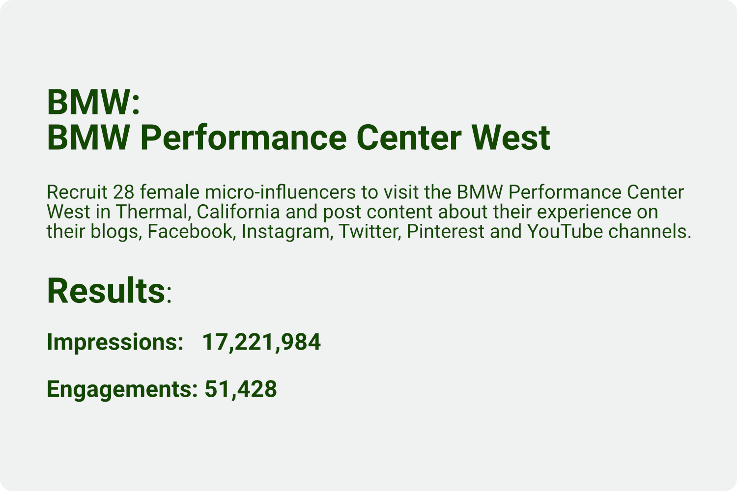 BMW Performance Center West campaign results.