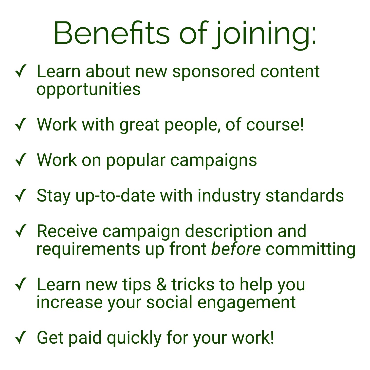 Benefits of joining the ReachOrb Influencer Network.