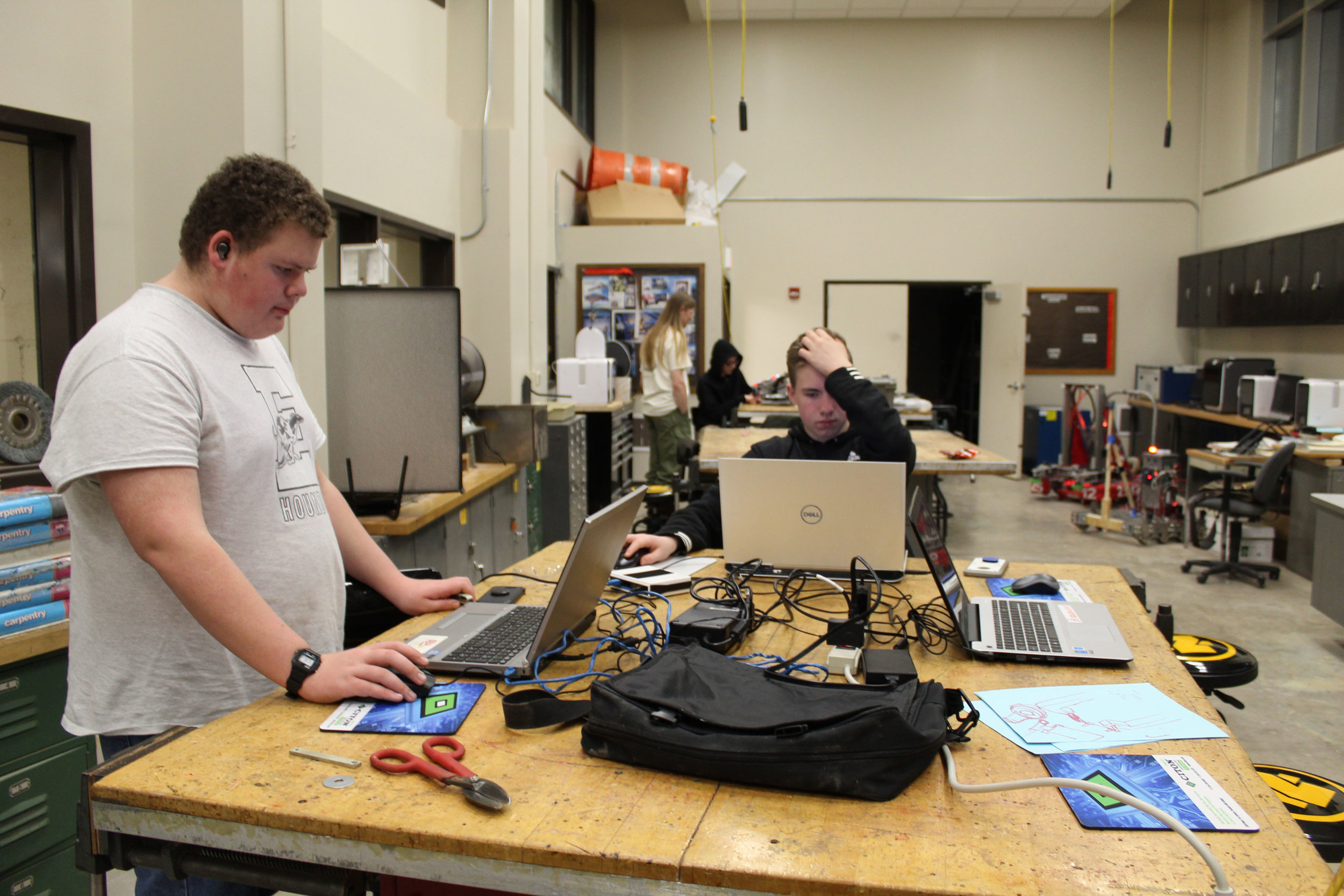 Jacob and Sean of the CAD Department working hard